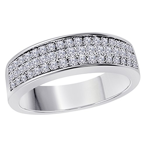 Silver Gems Factory 6MM 14K White Gold Plated 1/2 Ct White CZ Diamond Ring Three Row Pave Half Eternity Mens Wedding Band