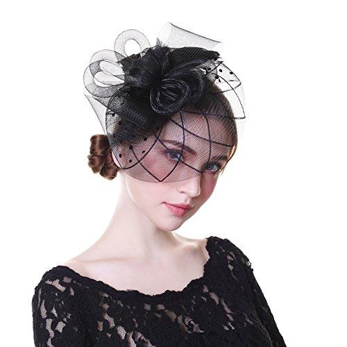 Fascinator Hat Mesh Flower Headwear – AWAYTR Tea Party Hats for Woman Mesh Derby Church ()
