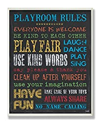 The Kids Room by Stupell Rainbow Chalkboard Playroom Rules Rectangle Wall Plaque