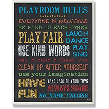 Stupell Home Décor Rainbow Chalkboard Playroom Rules Rectangle Wall Plaque, 11 x 0.5 x 15, Proudly Made in USA