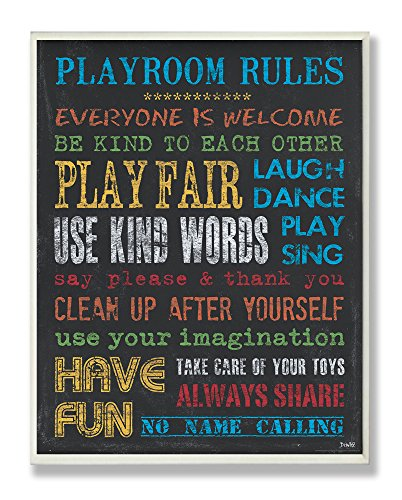 Stupell Home Décor Rainbow Chalkboard Playroom Rules Rectangle Wall Plaque, 11 x 0.5 x 15, Proudly Made in USA (Chalk Christmas Art Photos)