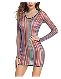 Alter Womens Rainbow Lingerie Stripes Fishnet Chemise Keyhole Mini Dress