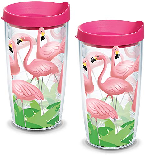 Tervis 1055675 Flamingos Tumbler with Wrap and Fuchsia Lid 2 Pack 16oz, Clear
