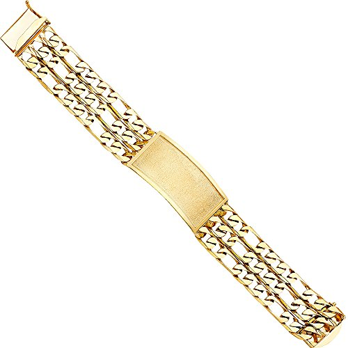 Wellingsale 14k Yellow Gold Solid Solid Polished Mens 3 Line Figaro Link ID Bracelet - 9""