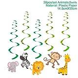 30Pcs Zoo Safari Jungle Animal Birthday Banner Spiral Swirls Banner Bunting Garland Streamer Happy Birthday Party Decor Kids 30pcs banner