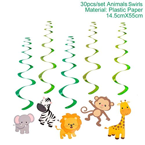 (30Pcs Zoo Safari Jungle Animal Birthday Banner Spiral Swirls Banner Bunting Garland Streamer Happy Birthday Party Decor Kids 30pcs banner)