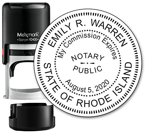 or State of Rhode Island- Self Inking Stamp - Top Brand Unit with Bottom Locking Cover for Longer Lasting Stamp - 5 Year Warranty ()