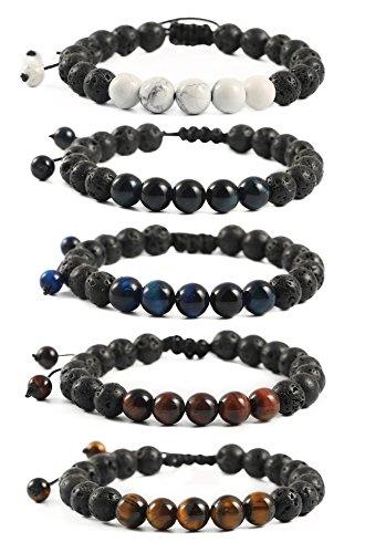 Ogemluv Lava Rock Diffuser Bracelets for Men Women Natural Stone Adjustable,8MM Beads 5PCS ()