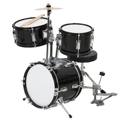 kids-drum-set-3-pc-13-beginners-complete-set-with-throne-cymbal-and-more-black
