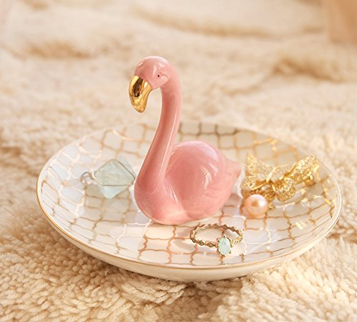 PUDDING CABIN Flamingos Ring Dish Holder Engagement Wedding Gift Ring Display Earrings Necklace Bracelet Jewelry Tray by PUDDING CABIN (Image #7)
