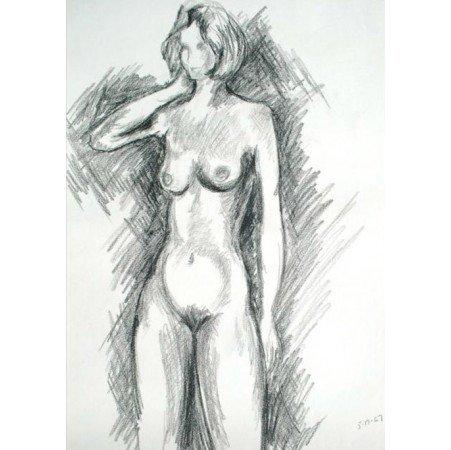 Adam Kraft Charcoal Drawing of Nude Woman 1967, Old Artwork Figure