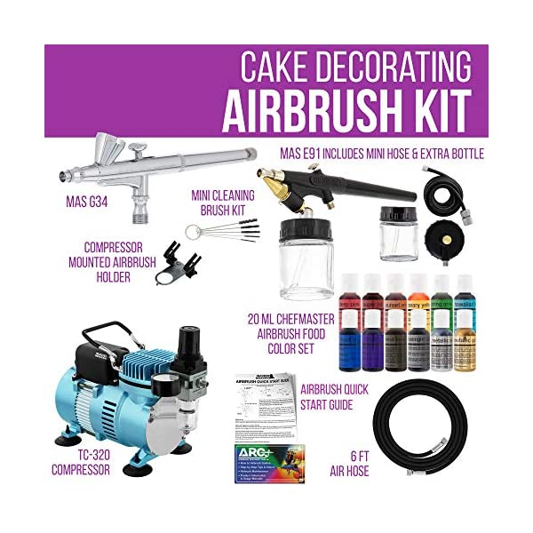 Master-Airbrush-Cake-Decorating-Airbrushing-System-Kit-with-2-Airbrushes-Gravity-and-Siphon-12-Color-Chefmaster-Food-Coloring-Set-Pro-Cool-Runner-II-Dual-Fan-Air-Compressor-How-To-Guide-Cupcakes