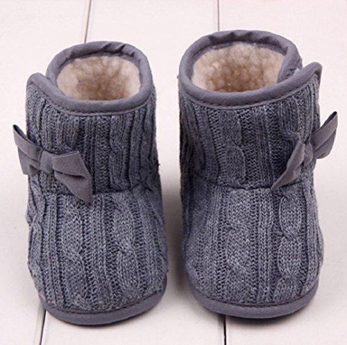 Schön Babyschuhe Schneestiefel,Amcool Baby Bowknot Weiche Sohle Winter Warme Schuhe Lauflernschuhe Kleinkind Schuhe Stiefel Baby Winter Schuhe (6-9 Monatlich, Rot) Grau