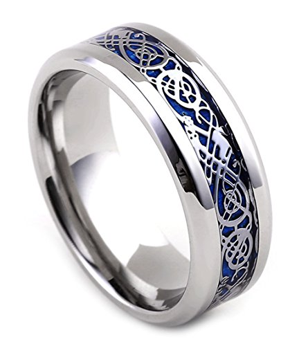 Tanyoyo 8MM Blue Celtic Dragon Men's Women's Titanium steel Ring Wedding Band (7) (Blue Dragon Wedding Rings)