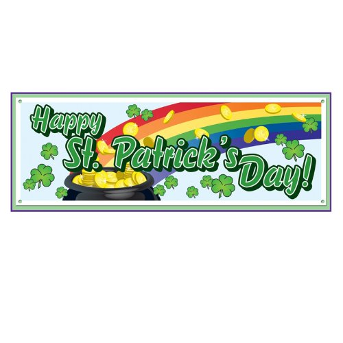 Happy St Patrick's Day Sign Banner Party Accessory (1 count) (1/Pkg)