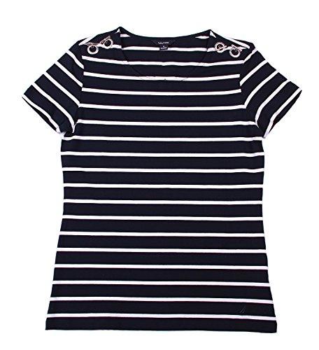 Nautica Women's Scoop Neck Embellished Top (Small, (Embellished Scoop Neck Top)