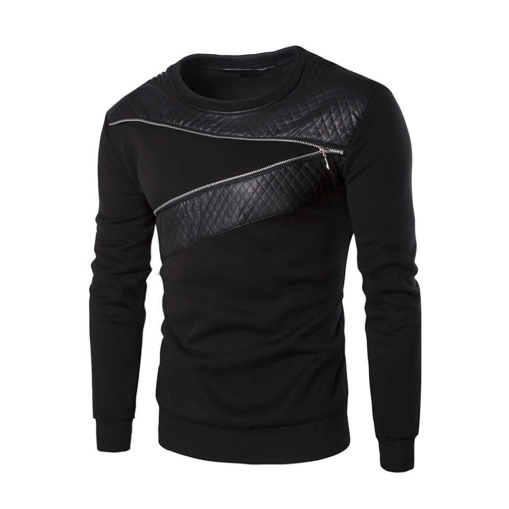 NEARTIME Men's Sweater, Winter Men Splicing PU Leather Sweatshirt Coat Jacket Sweaters (2XL) …