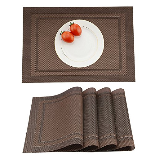 Yanyi Placemats Set of 4, Heat Insulation & Stain Resistant Washable Place Mats, 17.7 x 11.8 inches Durable Non-Slip Kitchen Table Mats Placemat for Dining Table (Brown)
