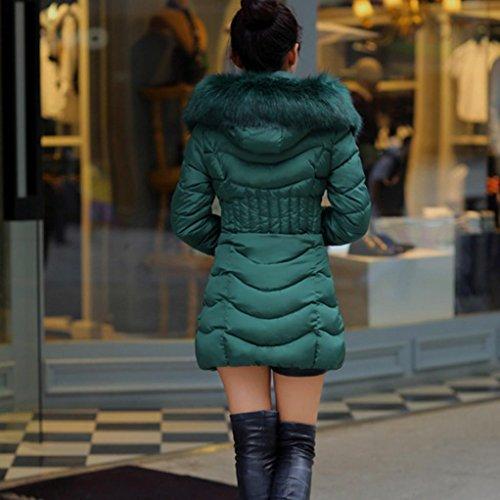 la de Caliente WINWINTOM Verde chaqueta Mujer Capa Invierno Parka Moda Algodón larga de Trench Adelgazan Outwear para wSw0RCqP