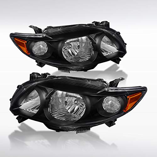 Autozensation For Toyota Corolla JDM Black Clear Headlights Head Lamp W/Amber Reflector Pair