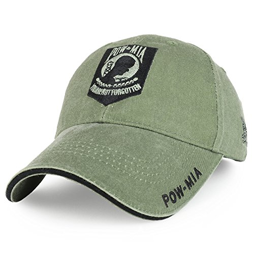 (Armycrew United States Pow MIA Embroidered Patch Cotton Adjustable Baseball Cap - Olive Drab)