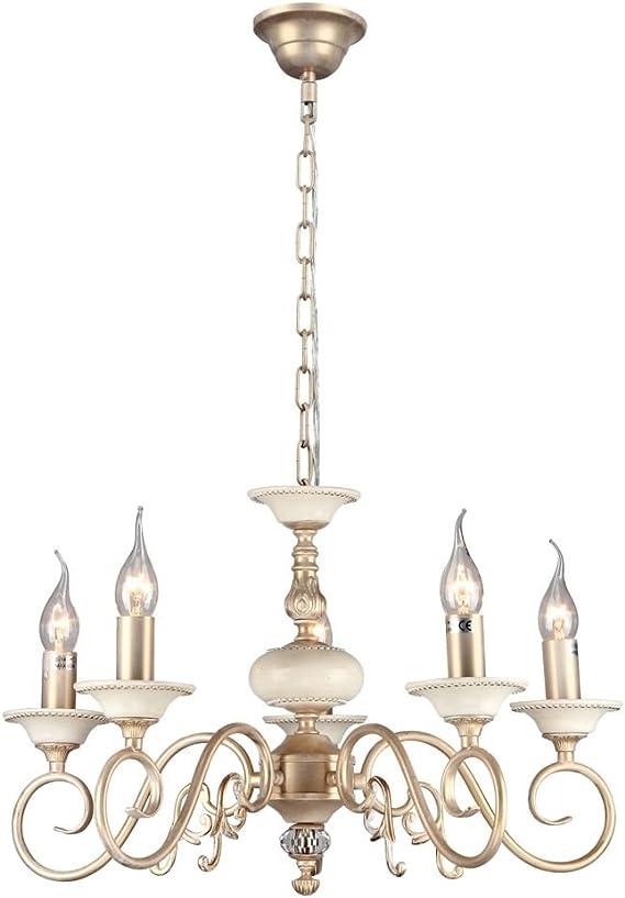 5xE14 60W 220v Lustre Suspension 5 lampes style classique Abat-jours en tissu couleur blanc decor/é en cristal baroque Art Deco armature en M/étal couleur or creme