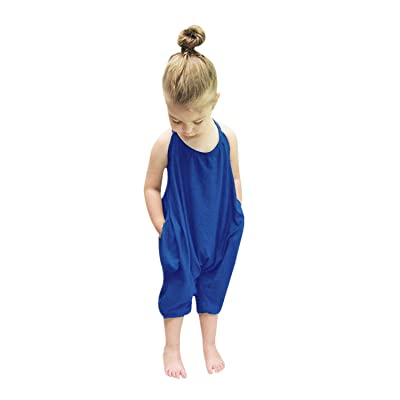 Aimik Jumpsuits for Baby Girls Kids,Summer Cute Backless Harem Strap Romper Bodysuit Outfits Sunsuit Clothing Toddler Pants (Blue, 4-5 Years): Clothing