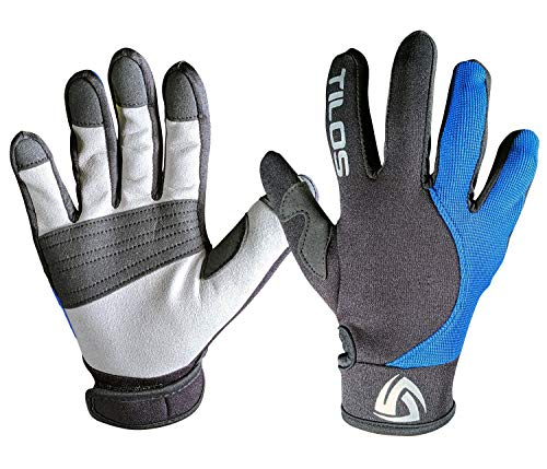 Tilos 1.5mm Tropical Dive Gloves Stretchy Mesh with Amara Leather for Snorkeling, Kayaking, Water Jet Skiing, Sailing, Scuba Diving, Rafting (Blue, L)