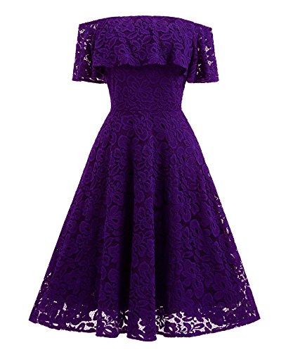 XIU*RONG Vestido De Encaje Con Un Hombro Vestidos De Péndulo Grande Violet