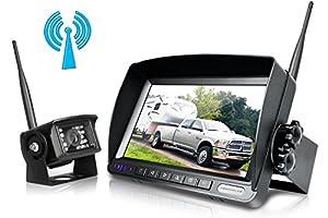 Digital Wireless Backup Camera System Kit,No Interference,IP69 Waterproof Wireless Rear View Camera + 7'' LCD Wireless Reversing Monitor For Truck/Semi-Trailer/Box Truck/RV - (W01-7 inch)