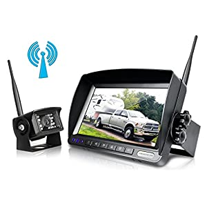 Digital Wireless Backup Camera System Kit,No Interference,IP69 Waterproof Wireless Rear View Camera + 7'' LCD Wireless Reversing Monitor For Truck/Semi-Trailer/Box Truck/RV - (W01) (W01 - 7 inch)
