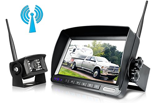 Digital Wireless Backup Camera System Kit,No Interference,IP69 Waterproof Wireless Rear View Camera + 7'' LCD Wireless Reversing Monitor For Truck/Semi-Trailer/Box Truck/RV (W01-7 inch)