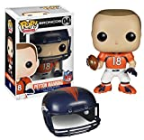Peyton Manning is arguably the best ever to go under center in NFL history! Peyton Manning stands 3 3/4-Inch tall in Pop! Vinyl Format and comes packaged in a window display box. Peyton Manning comes in his home orange Broncos uniform and com...