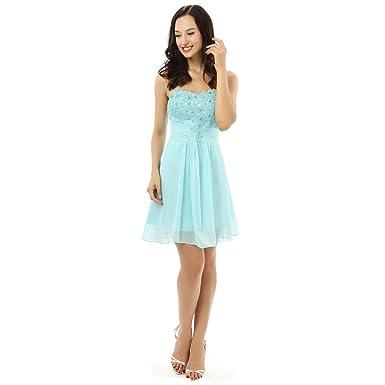 887f703cae9 Kivary Beaded Lace Short A Line Knee Length Corset Prom Homecoming Dresses  Aqua US 2