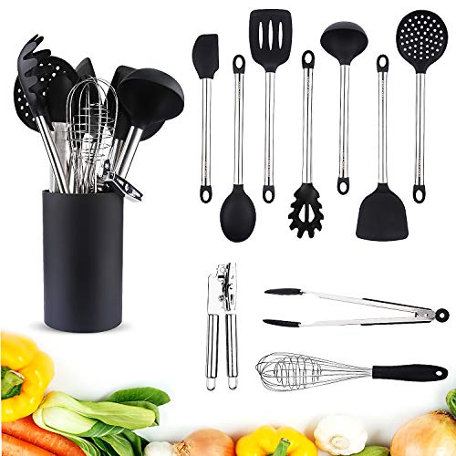 Kitchen Utensil Set Stainless Steel 11Piece - Cooking Utensils Set with Holder Nonstick Cookware (Silicone Head), BPA Free, Non Toxic Turner Tongs Spatula Spoon Set - Chef's Hand