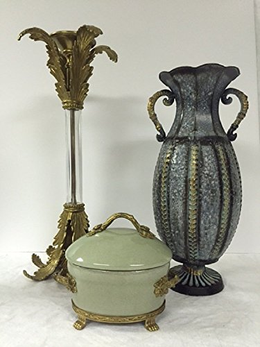 Accessories Collection - John Richard Accessories - Solid Brass & Acrylic Candleholder, Hammered Metal Vase, and Mint Green Lidded Cachepot
