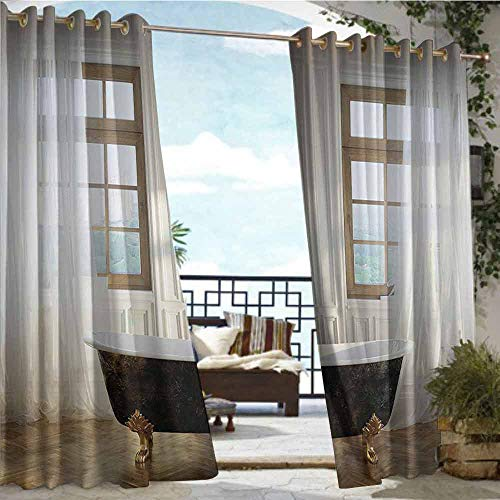 Andrea Sam Outdoor Privacy Curtain for Pergola Antique Decor,Retro Bathtub in Modern Room Interior Hardwood Classics Space Design,Ivory White Gold,W96 xL84 Silver Grommet Top Drape