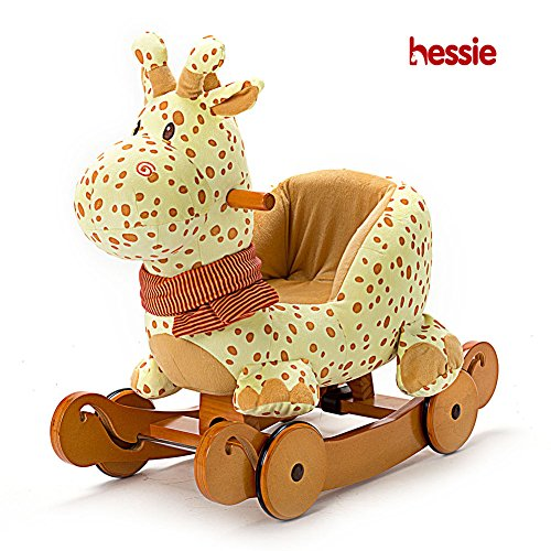 - Hessie Modern Plush Rocking Horse with Soft Cute Stuffed Animal, Indoor Ride On Toys Rockers with Wheels for Toddlers Kids Little Boys & Girls (6-36 Months) - Padded Yellow Giraffe with Sound Paper