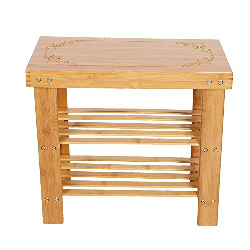 Lucky Tree 2-Tire Shoe Bench Entryway Storage Shelf Bamboo Shoes Rack (Small Trees Hall)