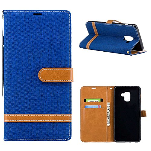 Funda para Samsung Galaxy A8 Plus 2018,Grandcaser Double Layer Protectora Funda Suave Stitch Denim Leather Cuero Libro Flip Estuche de Silicona Bumper Flexible Cover Carcasa - Púrpura Azul