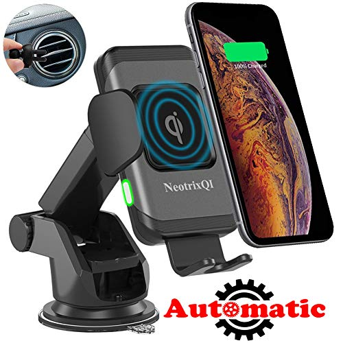 Wireless Car Charger Mount, Lenture 10W Auto Clamp 2 in 1 Qi Fast Charger Car Mount Air Vent &Dashboard Phone Holder for iPhone Xs Max/XR/Xs/X/8 Plus, Samsung Galaxy S9 Plus/S8/S8 Plus