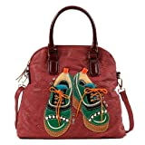 Nicole Lee Tori Patchwork Oxfords Dome Tote Bag (Red), Bags Central