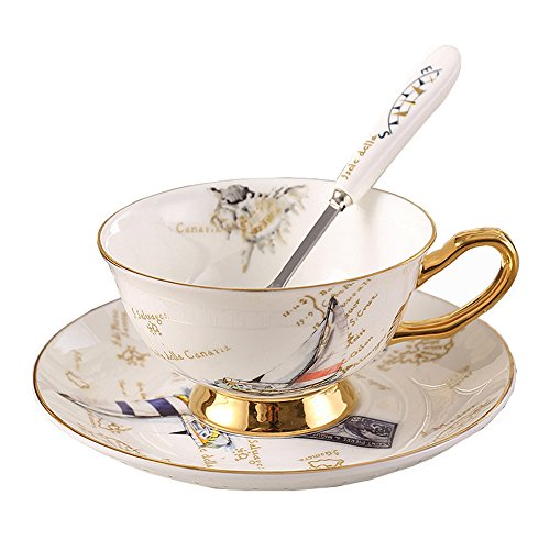 (European Royal England Bone China Ceramic Tea Cup Coffee Cup,Stamp,Sailboat,White And Golden)