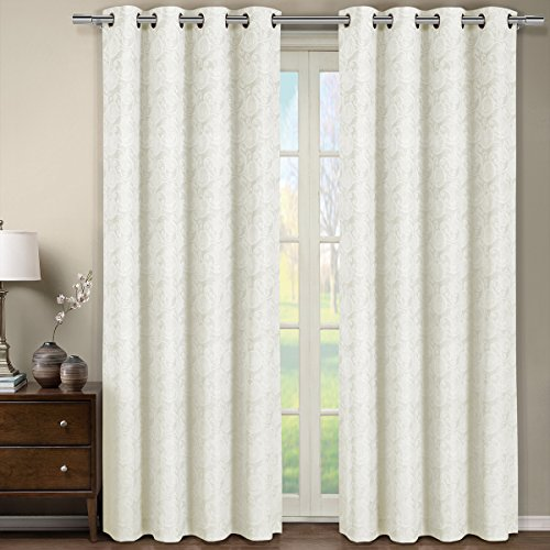 One Window Panel, Elegant and Contemporary Jacquard Tabitha Grommet Top Draperies. One OFF White 54' by 96' Panel