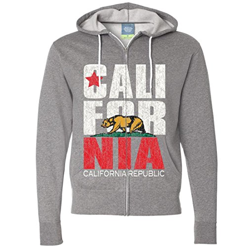 Sweater Mens Gunmetal (California Republic Vintage Retro Text Zip-up Hoodie - Gunmetal Heather Large)
