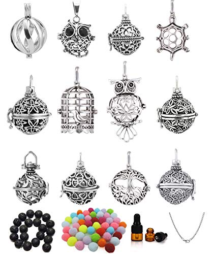 (Yaoding 12pcs Mix Hollow Bird Cage Owl Tree Tortoise Ball Locket Lava Stone Perfume Fragrance Essential Oil Aromatherapy Diffuser Pendant Necklace)