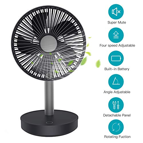 USB Desk Fan, MANLI Small Mini Oscillating Table Fan 4 Speeds 5 Blades Low Noise Energy Saving 15h Continuous Use 4000mAh Mobile Phone Chargeable for Home Office (Best Roommates Outdoor Fans)