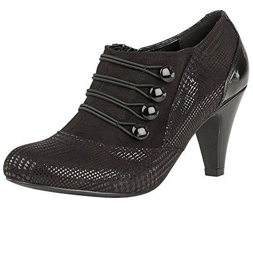 Negro Zapato Botas Tacón Lotus Impresión Marina Dolley nqx1wSBpv