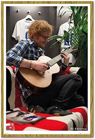 Ed Sheeran el vestidor de Wembley Póster de Corcho Pin tablón de Notas Enmarcado Roble – 96,5 x 66 cms (Aprox 38 x 26 Pulgadas): Amazon.es: Hogar