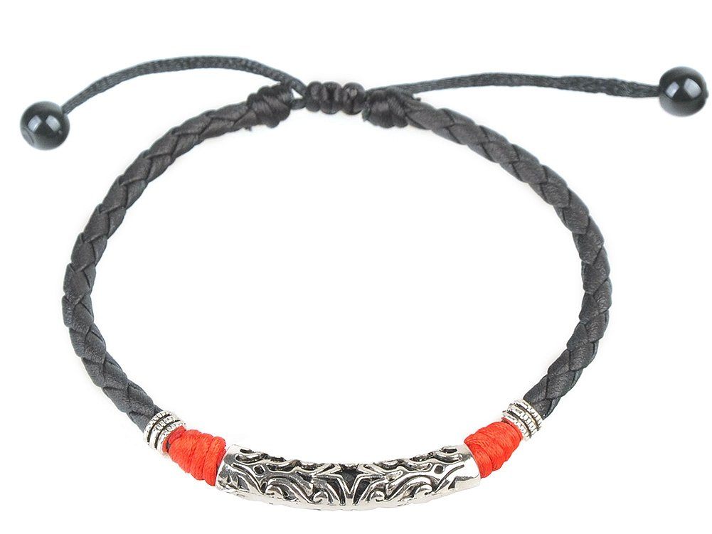 Ancient Tribe Handmade Adjustable Black Leather Anklet HZA-001